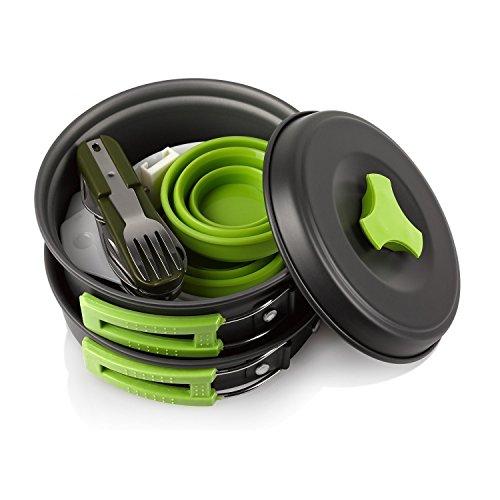 Khroom Camping Outdoor Kochgeschirr Set | 13-Teilig | BPA-Frei & Keine Giftstoffe | Faltbar & Leicht - Ideal für Reise, Festival, Wandern | Camping