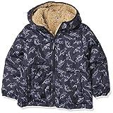 London Fog Toddler Boy's Reversible Fleece-to-Poly Jacket, Navy print reversible, 4T