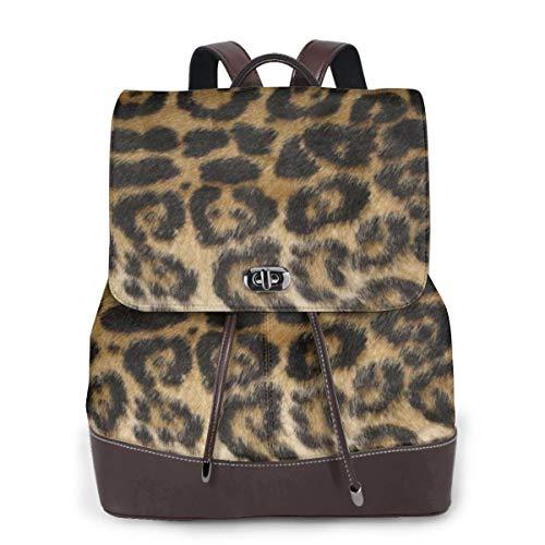 SGSKJ Rucksack Damen Gepunkteter Leopard, Leder Rucksack Damen 13 Inch Laptop Rucksack Frauen Leder Schultasche Casual Daypack Schulrucksäcke Tasche Schulranzen