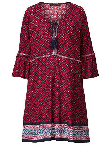 Sara Lindholm Kleid mit Bordürendruck Granatrot