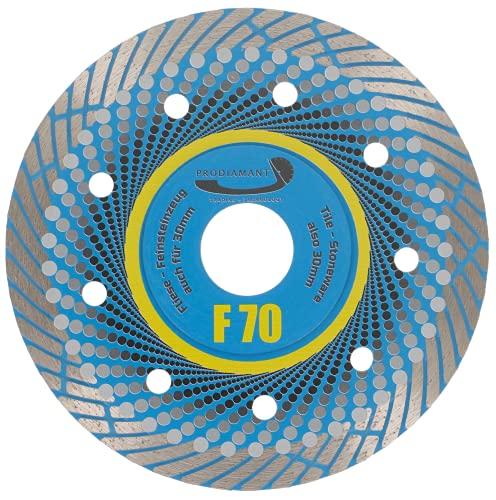 PRODIAMANT Disco da taglio diamantato professionale per gres porcellanato F70, extra sottile, 115 mm x 22,2 mm, per taglio a secco fino a 3 cm