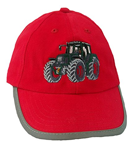 Zintgraf Rote Security Baseball Kappe Sicherheits Cap grüner Traktor rote Felgen Stickerei (54-57cm)