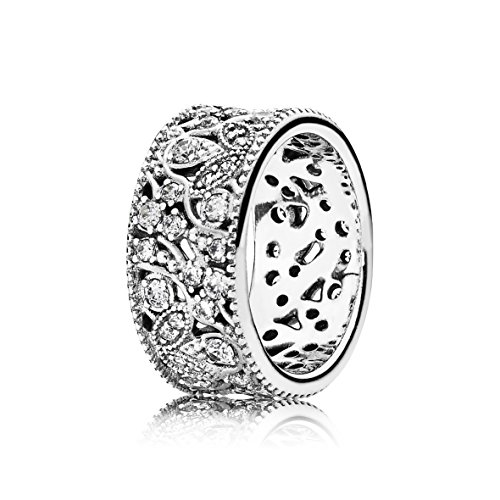 Pandora para mujer-anillo brilla corona 925 zirconia cúbico plata transparencia hojas - 190965CZ