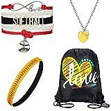 Lot de 4 accessoires pour fille softball softball avec cordon de serrage