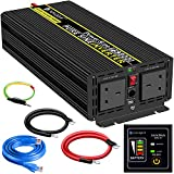 Power Inverter Pure Sine Wave-3000 Watt 24V DC to 230V/240V AC Converter-2AC Outlets Car Inverter with One USB Port-5 Meter Remote Control And Two Cooling Fans-Peak Power 6000 Watt