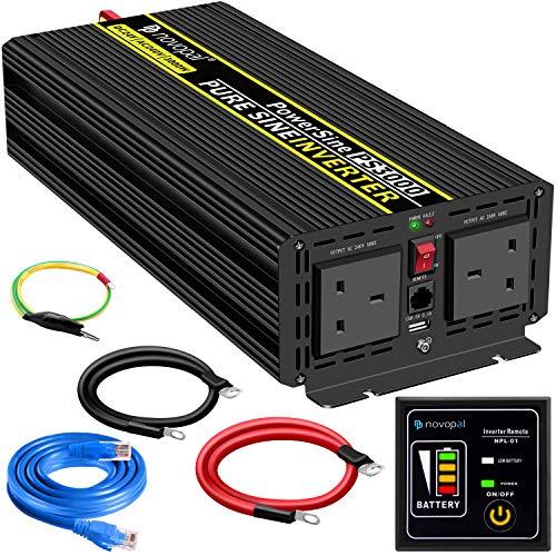 Power Inverter Pure Sine Wave-3000 Watt 24V DC to 230V/240V AC Converter-2AC Outlets Car Inverter...