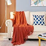 EasyJoy Throw Blanket for Couch, Knit Woven Blanket, 50×60 Inch, Bubble Textured Lightweight Decorative Blanket with Tassels for Couch, Bed, Sofa, Travel Home Decor (Brick Red)