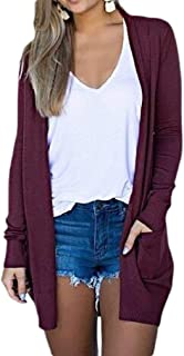 CRYYU Women's Slim Fit Pockets Jacket Open-Front Solid Casual Cardigan Sweaters Coat