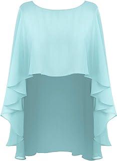 879b9779485 inlzdz Chal Estola de Gasa para Mujer Poncho Verano Asimetrico Capa de Gasa  con Volantes Elegante