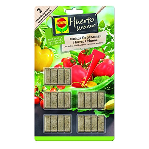 Compo Varitas Fertilizantes para Tomates y hortalizas de 2 Meses de duración, 20 Unidades, 24.3 X 14.4 X 0.5 Cm, 1072502011