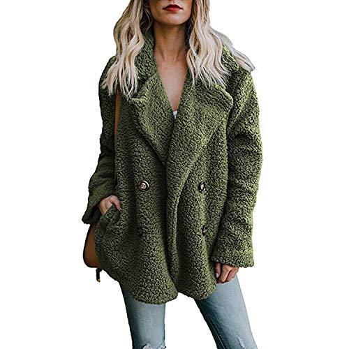 Damen-Winterjacke, zweireihiger Pullover, Revers lose Pelzjacke, Damen-Outwear Gr. 5X-Large, grün