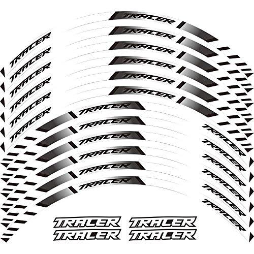 12 x Borde de Grueso Etiqueta Exterior Etiqueta de Rotura de Rotura de la Raya de Las calcomanías de la Rueda Fit Yamaha Tracer 700 900 850 MT07 MT09 MT-07 MT-09 Pegatinas para Moto (Color : White)
