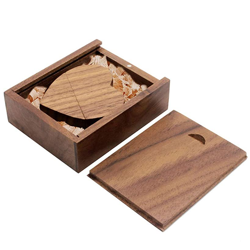 Ace one Wooden Heart Shape USB Flash Drive USB Memory Stick Thumb Drivers 16gb 2.0 High Speed with Matching Box for Novelty Gift(Walnut 16g)