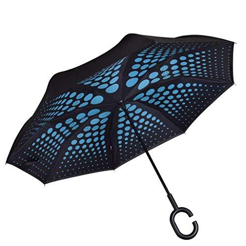 JJYGONG Paraguas Invertido Doble Plegable a Prueba de Viento - Auto-Soportamiento Invertido a Prueba de Lluvia Paraguas Al Revés con la Manija en Forma de C Plegable/A