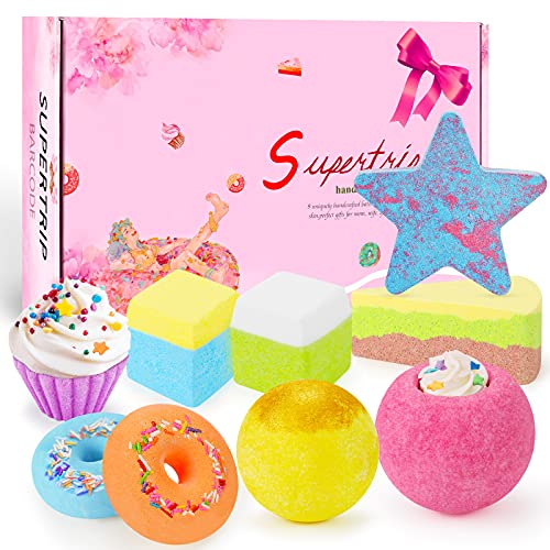 Supertrip Bombas de baño, 9PCS Set de regalo de bolas de baño hecho de aceites esenciales...