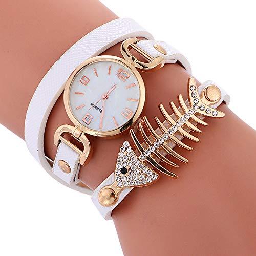 Doingshop Damenuhr Kreative Persönlichkeit Fishbone Wicklung Uhr Studentenarmband wasserdichte 55 cm Uhr