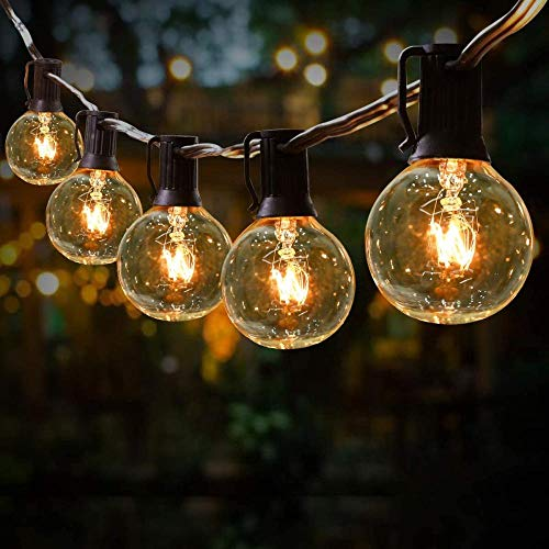 A-Generic Outdoor Garden String Lights G40 Garden Patio Outside String Lights Indoor/Outdoor String Lights Garden Terrace Patio Christmas Lights (50 LED Bulbs+4 Spares)