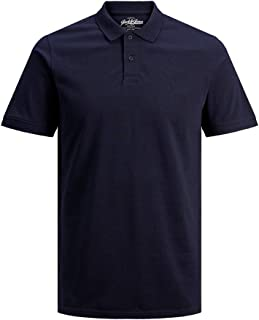Jack & Jones Men's Jjebasic Polo Ss Noos Shirt, Blue (Navy Blazer Detail: Slim Fit), Large