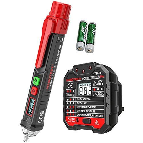 amropi Berührungslos Wechselstrom Spannung Stift Detektor und Erweiterte RCD Elektrische Steckdosenprüfer mit Spannung Hintergrundbeleuchtung LCD Anzeige (1 Stift und 1 LCD Steckdosenprüfer)