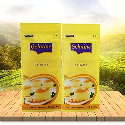 ABRC 50 g 20 Hojas Grandes de Halal Carne de Vaca Hoja de Plata Hojas de gelatina gelatina para Cocinar Mousse Pastel de gelatina Postre Mix