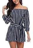 MISS MOLY Jumpsuit Damen Sommer Kurz Sexy Einteiler Gestreift Playsuit Romper Blau Large