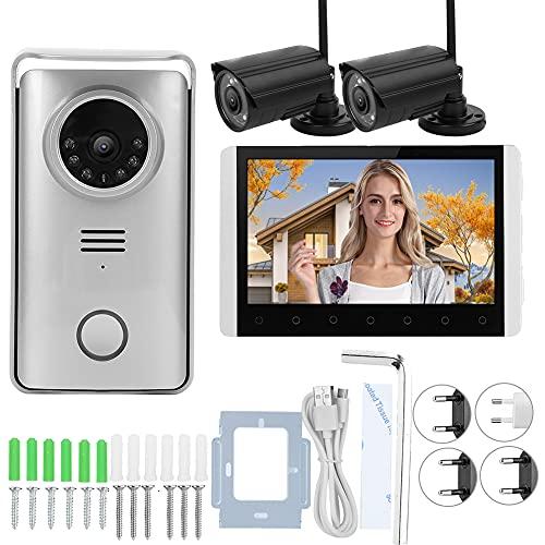 Sistema de videoportero, sistema de timbre con videoportero, con 2 cámaras, radio bidireccional para villa de mejoras para el hogar(Transl)