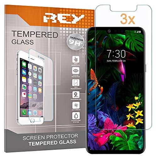REY 3X Protector de Pantalla para LG G8 THINQ, Cristal Vidrio Templado Premium