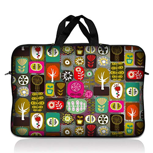 LSS 17-17.3' Laptop Sleeve Bag Compatible with Acer, Asus, Dell, HP, Sony, MacBook and more | Carrying Case Pouch w/Handle,Symbols