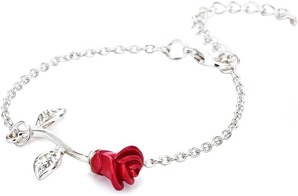 JczR.Y Fashion Red Rose Chain Bracelet Charm for Women Simple Temperament Flower Bracelet Link Ornaments Jewelry