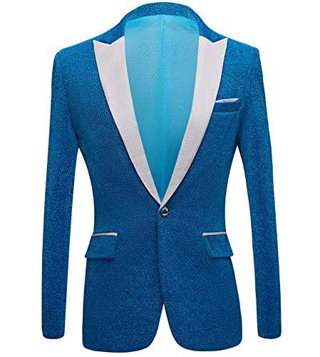 XFXFXZXZ Mens Glanzend Paars Goud Rood Zwart Zilver Prom Dress Suits met Broeken Bruiloft Groom Kostuum Homme, H