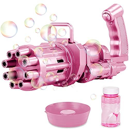 Seifenblasenmaschine Kinder,8 Loch Gatling Bubble Machine mit Licht,Tragbare Automatischer Bubble Gun Outdoor Elektrisches Seifenblasenpistole für Kinder/Hochzeit/Geburtstag Party (Rosa)