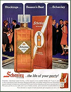 Color 1963 Advertisement for Schenley Whiskey with Lovely Glass Party Decanter Original Paper Ephemera Authentic Vintage Print Magazine Ad/Article