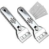 com-four® Rascador 2x de acero inoxidable con mango antideslizante y protección de cuchilla, para vitrocerámica, vitrocerámica y vitrocerámica, con cuchillas de repuesto. (02 piezas)