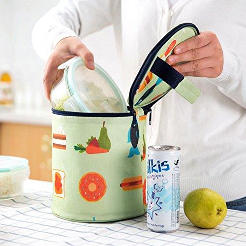 lumanuby sac de déjeuner pour les hommes Les femmes livrés imperméable personnalisé réutilisables Sacs de déjeuner isolés pour travail et école 17 * 19cm vert