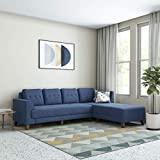 Amazon Brand - Solimo Alen 6 Seater Fabric RHS L Shape Sofa Set (Blue)