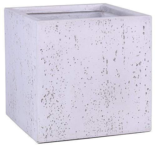 FJYAYUAN GA30-1591-3 White Travertine Lightweight Square Concrete Planter Pots   Unique Design   Handicraft   UV-Resistant and Eco - Friendly   Designed with Blind Drainage Hole (16''x16''x16'')