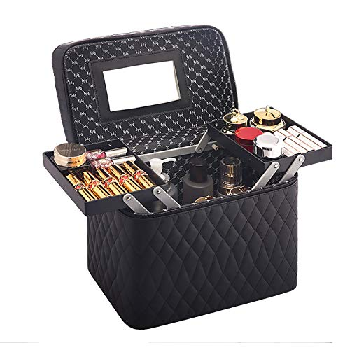 Makeup Train Case Small Cosmetic Box Travel Organizer,Black,2 pallets