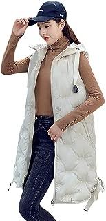 Gergeos Women Down Vest Lightweight Outdoor Ladies Winter Waistcoat Sleeveless Coat Long Hooded Jackets