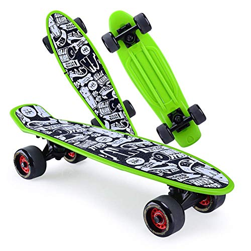 ZEH Skateboard 22-Zoll-Komplettskateboarddecks Mini Cruiser Retro Skateboard for Kinder Jungen Jugendliche Teens Anfänger, Rosa FACAI (Color : Green)