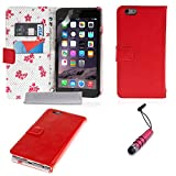 Yousave Accessories PU Leather Floral Wallet Cover Case with Mini Stylus Pen for iPhone 6 Plus - Red