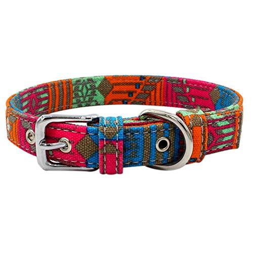 Tangpan Hundehalsband mit Schnalle für Katzen und Welpen, Segeltuch, S, rosarot
