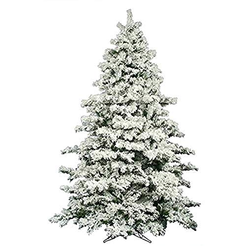 AMERIQUE 691322309737 7 FEET Premium Artificial Full Body Shape Christmas Tree with Metal Stand, Heavily Flocked Snow,...