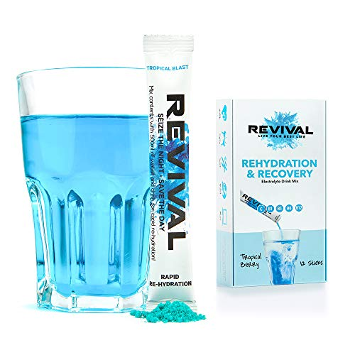 Revival, Rapid Rehydration: Elektrolyt-Pulver - Vitamin-C-Ergänzung, hochwirksame Vitamin-C-Ergänzung, Rehydrierungsbeutel-Drink, Brauselektrolyt-Hydratisierungstabletten – Beere 12 Sticks