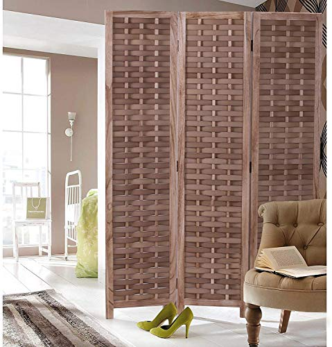 """COZAYH 3-Panel 67"""" Paulownia Wood Screen Room Divider, Folding Room Partitions, Freestanding Privacy Screen w/Hand-Woven Polymer Rattan, , Room Separator, Divider Wall"""