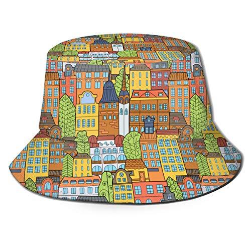 GAHAHA - Sombreros de cubo para hombre, verano, senderismo, casas de dibujo, para exteriores, portátil, protección UV, para niños, plegable