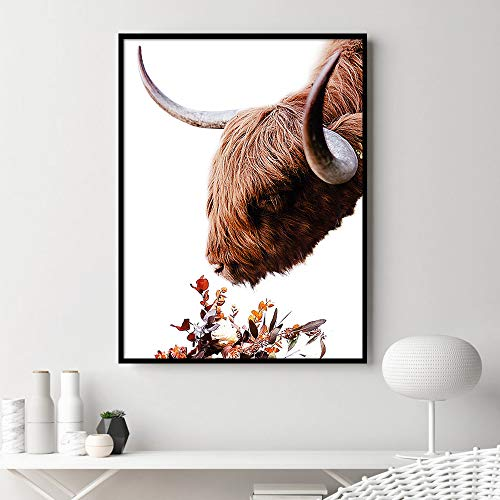 N / A Wall Art Highland Cow Floral Print and Poster Animal Cow Canvas Art Painting Used for Living Room Decoration Wall Pictures Frameless 60X80cm
