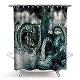 WIXIJAWR Hohe Qualität Extra Longpolyester Duschvorhang 3D Gedruckt Octopus Monster Bath Landschaft Wasserdichtes Bad Vorhang Bad Screens Cortina Badezimmer,220X220 cm