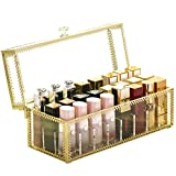 Lipstick Holder Dust Free Glass Transparent Lip Gloss Eye Liner Vanity Cabinet Makeup Organizer with Removable Dividers 24spaces (Gold)