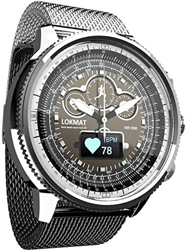 Reloj de pulsera de cuarzo para hombre con cronógrafo analógico de acero inoxidable con monitor impermeable de calorías, podómetro, color plateado
