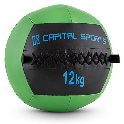 Capital Sports Epitomer - Medizinball, Wall Ball, Fitness Ball, Krafttraining, Ausdauertraining, Functional Training, vernähtes Kunstleder, griffige Oberfläche, Farbe: grün, Gewicht: 12 kg